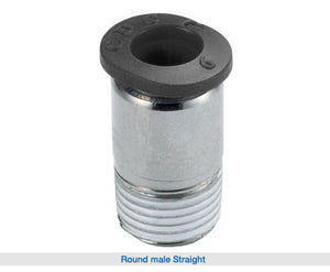 TPC Automation Round Male Straight  One-touch pipe connector used for pneumatic piping.