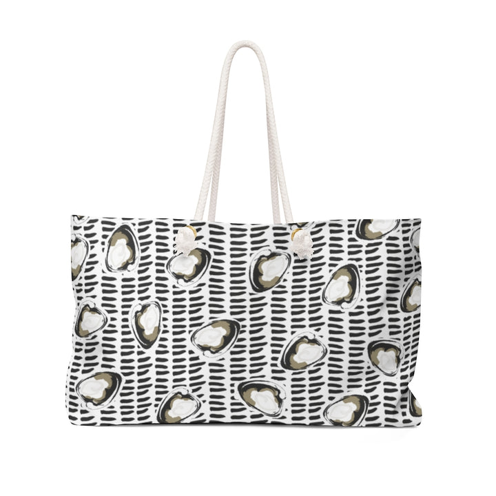 Abstract Coastal Clam Black + Gold Weekender Bag