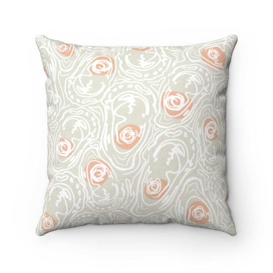 Abstract Oyster Peachy Half Shell Faux Suede Square Pillow