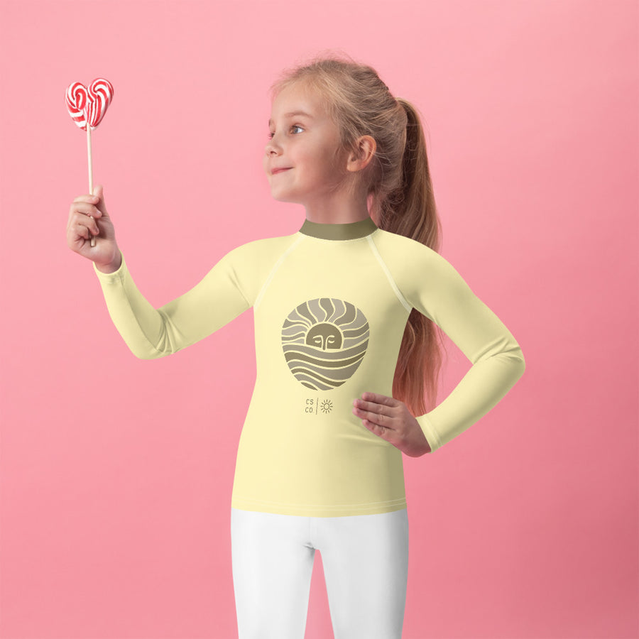 Mini Wahine or Grom Golden Moon Rash Guard