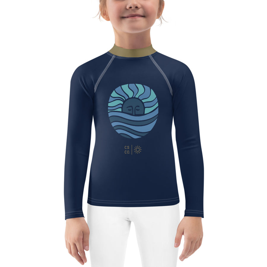 Mini Wahine or Grom Navy + Blue Moon Wave Rash Guard