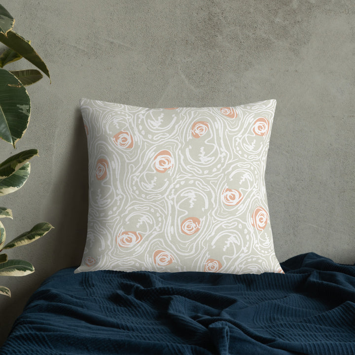 ABSTRACT OYSTER PEACHY HALF SHELL PREMIUM PILLOW