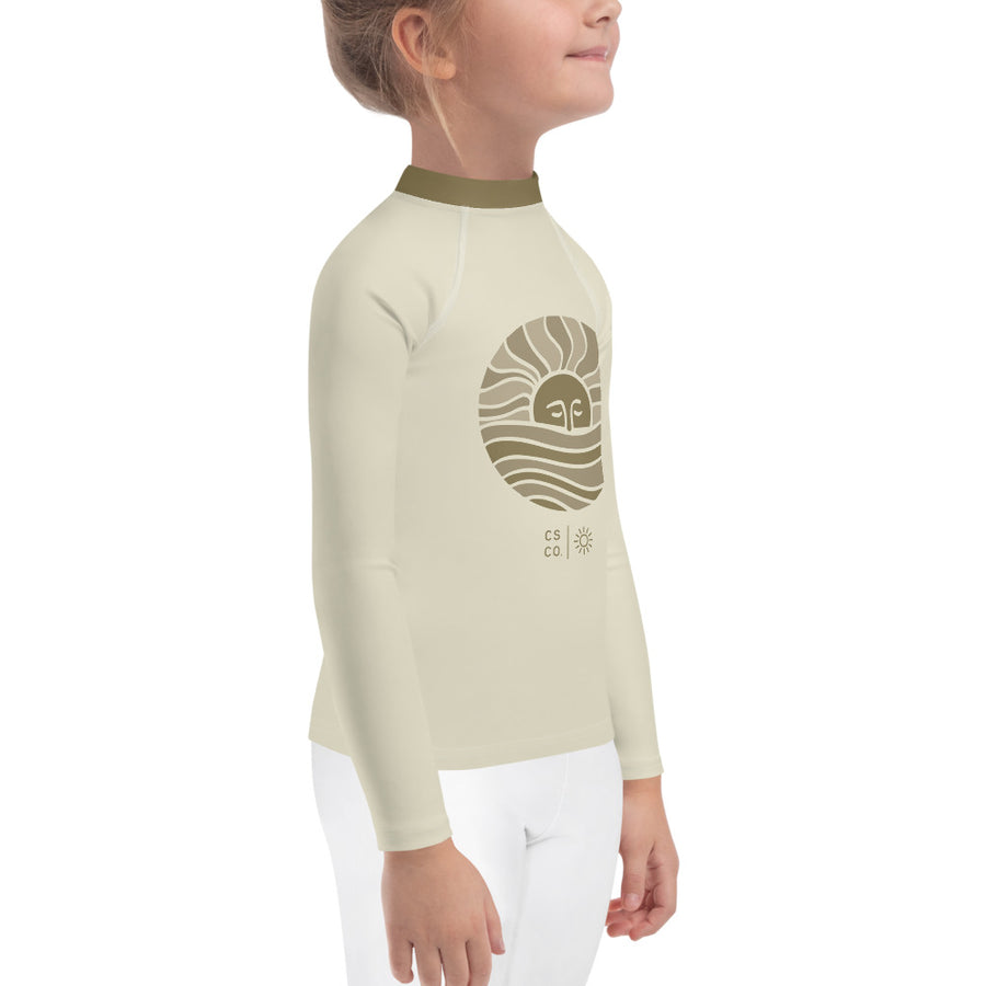 Mini Wahine or Grom Cream Moon Wave Rash Guard