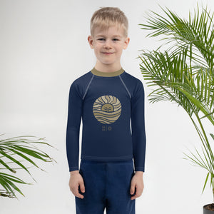 Mini Wahine or Grom Navy + Gold Moon Wave Rash Guard