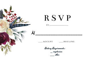 Burgundy Floral wedding stationery set