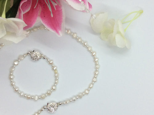 Freshwater Pearl Bracelet & Necklace Bridal Set