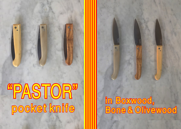 Pallares Solsona Pastor Pocket Knife Bone Boxwood Olivewood