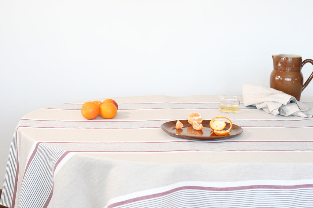 Charvet Editions Striped Tablecloth. Made in France.