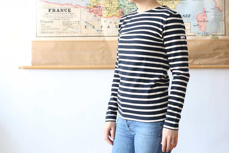 Armor-Lux Striped Marinière Navy with Nature Stripe