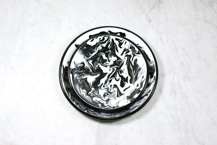 Marbled Enamel Dinner Plate