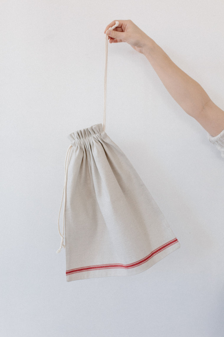 Linen Stripe Bread Bag