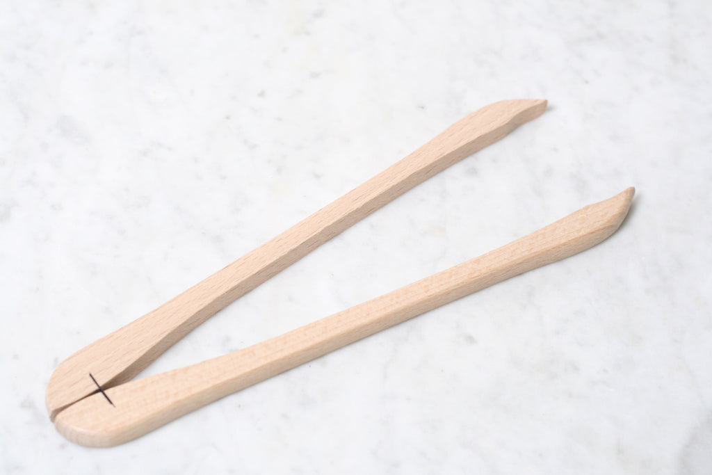 Beechwood Cornichon Tongs. Made in France.