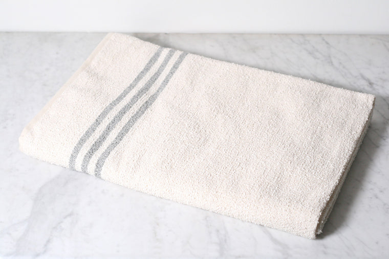 Linen & Cotton White Stripe Bath Sheet