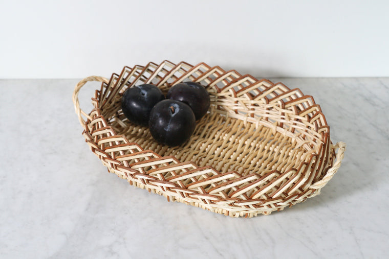 French Wicker Serving Basket, Oval