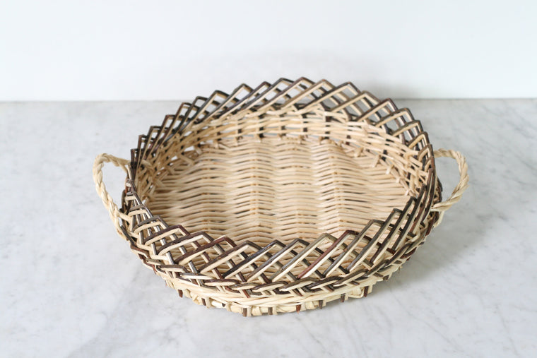 French Wicker Serving Basket, Round