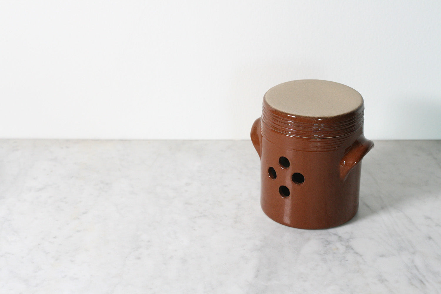 French Stoneware Garlic Pot