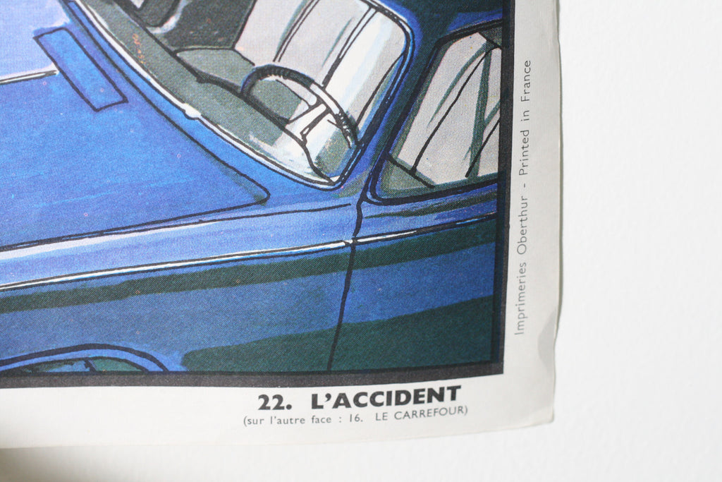 Vintage French School Poster, Le Carrefour/L'Accident