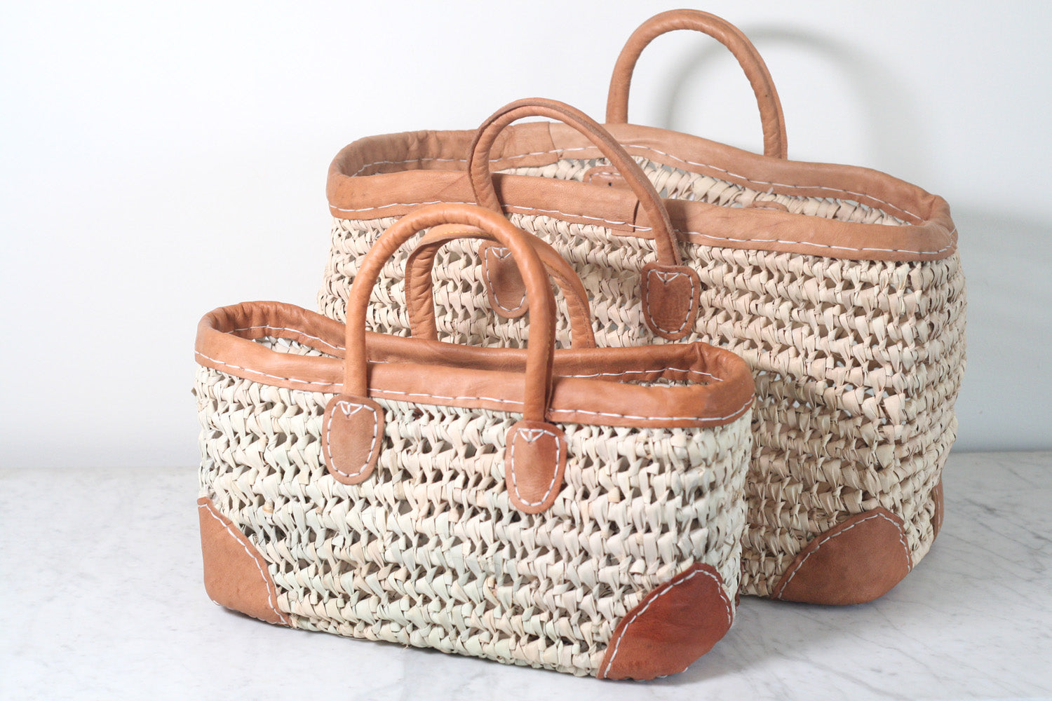 Leather Trimmed Market & Storage BasketsLeather Trimmed Market & Storage Baskets