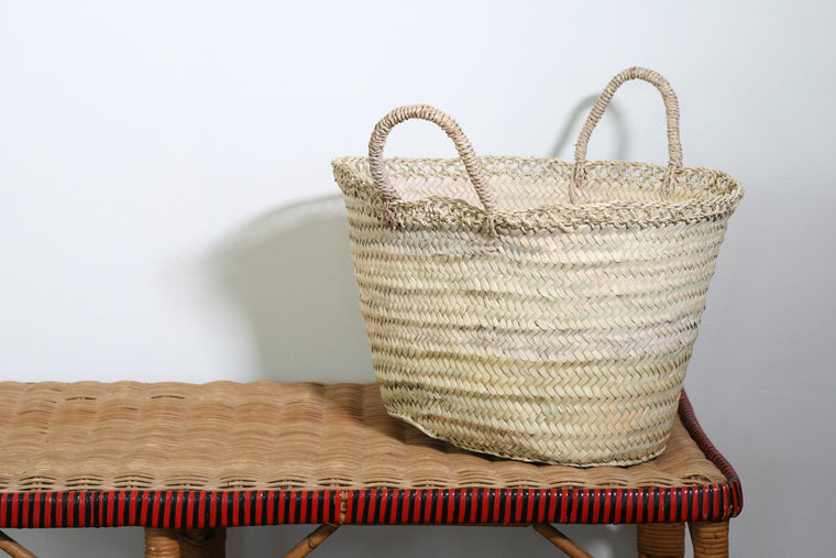Sisal Handled French Market Basket with Edging