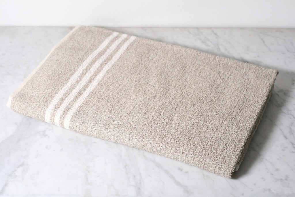 Linen & Cotton Neutral Stripe Bath Sheet