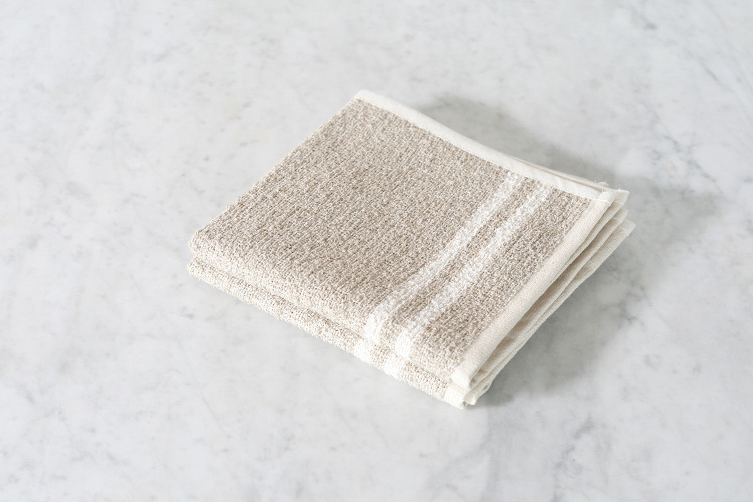 Linen & Cotton Neutral Stripe Washcloth, Set of Two