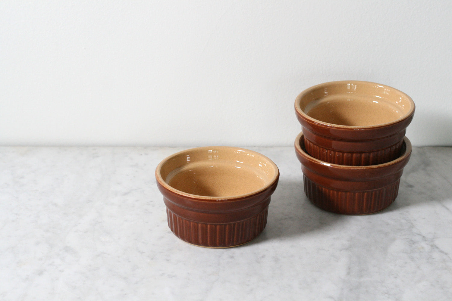 Large French Stoneware Ramekins