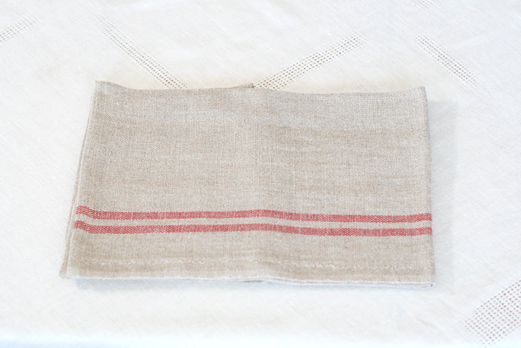 Charvet Editions Striped Linen Dish Towel. Made in France.