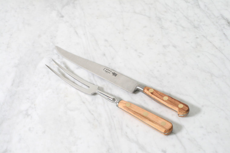 Sabatier Carving Set with Olivewood Handle