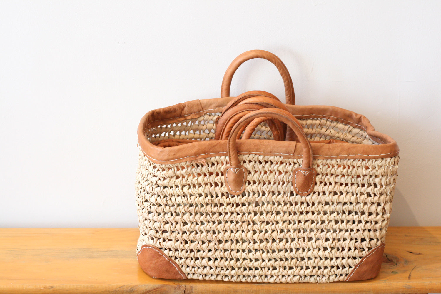 Leather Trimmed Market & Storage Baskets