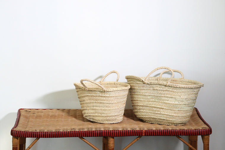 Small Sisal Handled French Market Basket