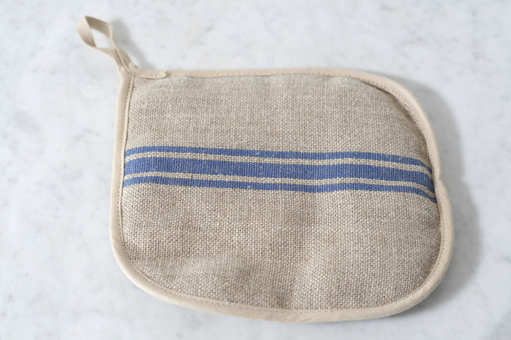 Blue Stripe Linen Pot Holder