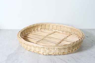 French Wicker Tray, Round
