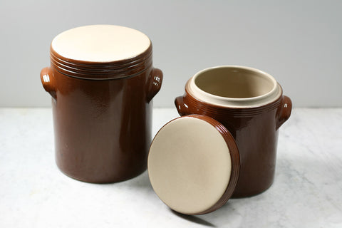 Stoneware storage jars. Made in France by Poterie Renault.