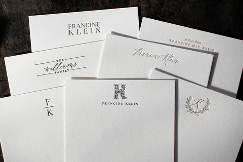 Personalised Letterpress Stationery