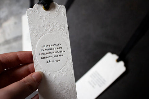 Letterpress Bookmark - J.L Borges Quote