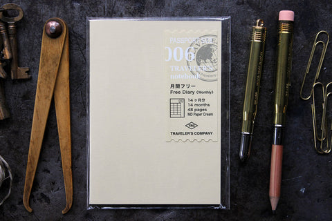 Traveler's Company Passport Notebook Refill - 006 Free Diary Monthly