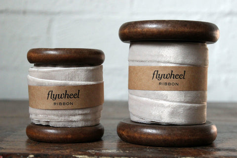 Velvet Ribbon on Wooden Spool - Oatmeal