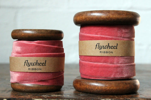 Velvet Ribbon on Wooden Spool - Rose Pink