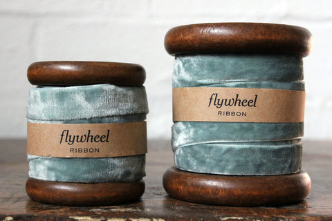 Velvet Ribbon on Wooden Spool - Soft Green