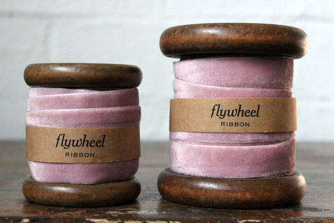 Velvet Ribbon on Wooden Spool - Soft Pink