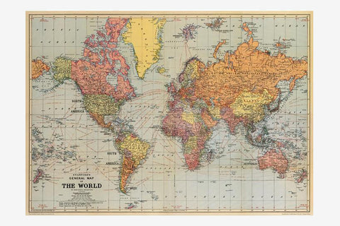 Cavallini Gift Wrap - Map of the World