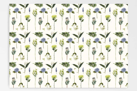 Father Rabbit Gift Wrap - Flowers