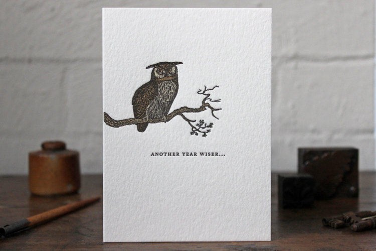 "Letterpress Greeting Card - ""Another year wiser..."""