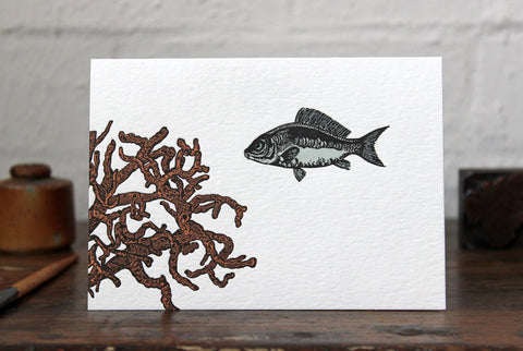 Letterpress Greeting Card - Fish and Coral