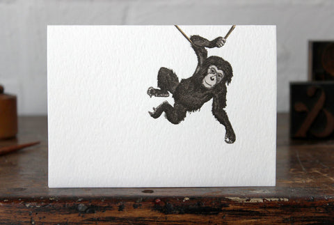 Letterpress Greeting Card - Monkey