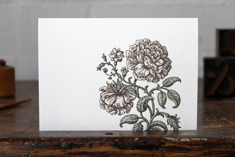 Letterpress Greeting Card - Peonies