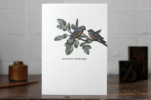 "Letterpress Greeting Card - ""So happy together"""