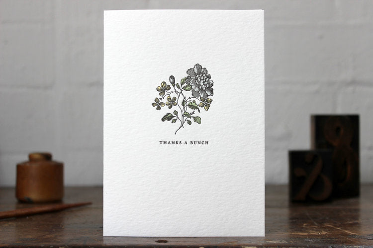 "Letterpress Greeting Card - ""Thanks a bunch"""