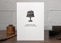 "Letterpress Greeting Card - ""Wishing you the happiest of birthdays"""