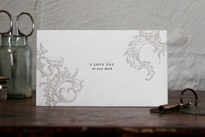 "Letterpress Notecard - ""I love you so very much"""